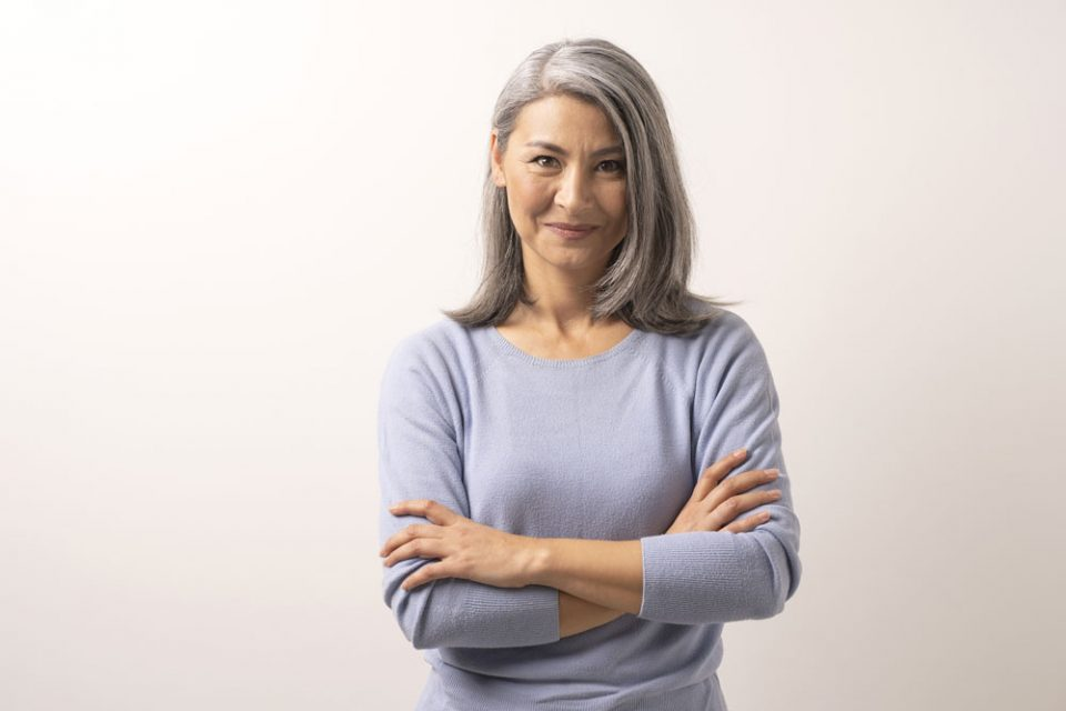 grey haired woman